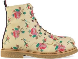Gucci Children's rose Supreme lace-up boot