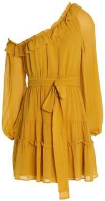 Nicholas One-Shoulder Ruffle-Trimmed Silk-Georgette Mini Dress