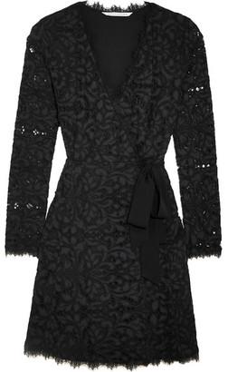 Diane von Furstenberg - Shaelyn Corded Lace Wrap Mini Dress - Navy $500 thestylecure.com