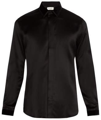 Saint Laurent - Velvet Point Collar Silk Shirt - Mens - Black