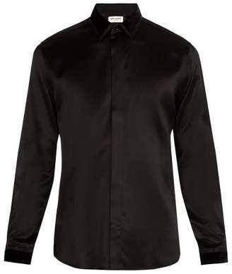 Saint Laurent Velvet Point Collar Silk Shirt - Mens - Black