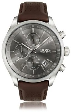 BOSS Stainless-steel sportswatch with grey sunray dial and perforated leather strap