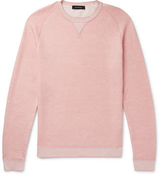 Ermenegildo Zegna Waffle-Knit Mélange Cotton, Cashmere, Silk And Linen-Blend Sweater