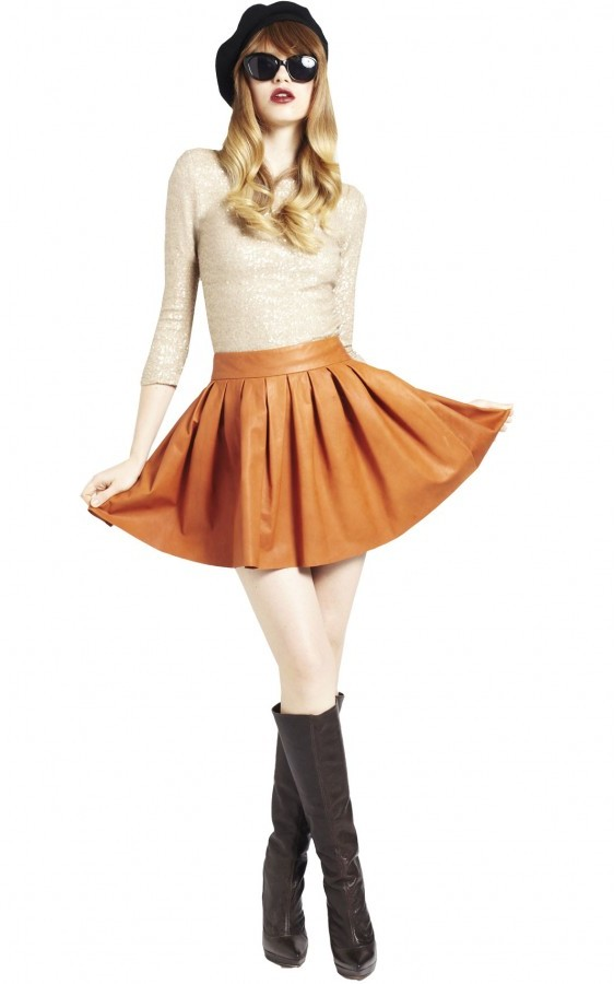 Box Pleat Leather Skirt