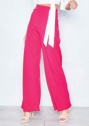 c358238a1058 Missy Empire Missyempire Kelsey Hot Pink High Waist Wide Leg Trousers