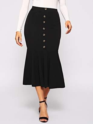 Shein Button Front Fishtail Hem Skirt