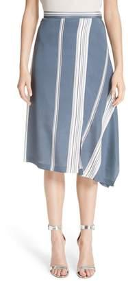 St. John Asymmetrical Stretch-Silk Satin Skirt