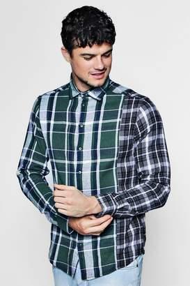 boohoo Spliced Brushed Check Shirt