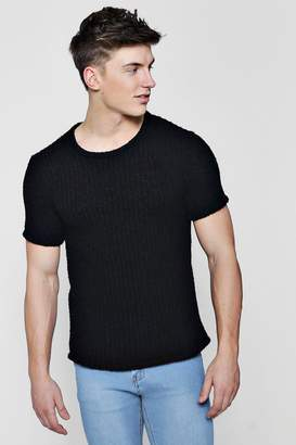 boohoo Short Sleeve Chunky Rib Knitted T-Shirt