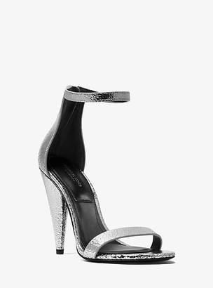 Michael Kors Ramsey Crackled Metallic Leather Sandal