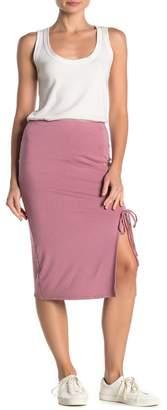 Velvet Torch Ruched Side Slit Midi Skirt