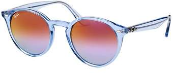 Ray-Ban Rb 2180 6278a9 49mm Shiny Light Blue Round Sunglasses.
