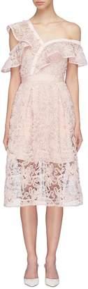 Self-Portrait Asymmetric ruffle one-shoulder floral mesh lace dress