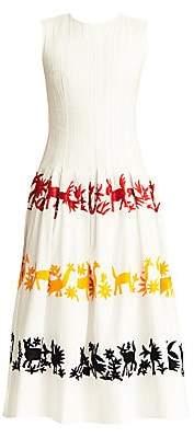 Carolina Herrera Women's Graphic Plissé A-Line Dress