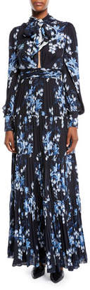 Justice Johanna Ortiz Poetic Tie-Neck Long-Sleeve Open-Back Floral-Print Pleated Silk Gown