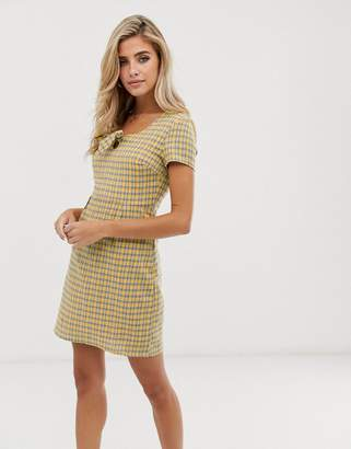 Daisy Street mini tea dress with bow front in check
