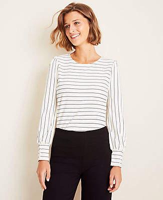 Ann Taylor Stripe Puff Sleeve Top