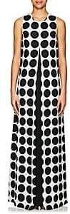 Lisa Perry Women's Dotted Crepe Gown-Wht.&blk.