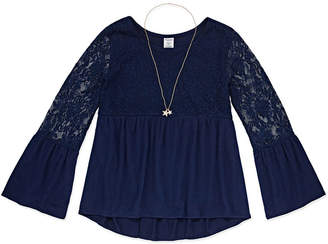 Arizona Long Sleeve Lace Yoke Top With Necklace - Girl's 4-16 & Plus