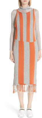 Eckhaus Latta Stripe Tassel Hem Sweater Dress
