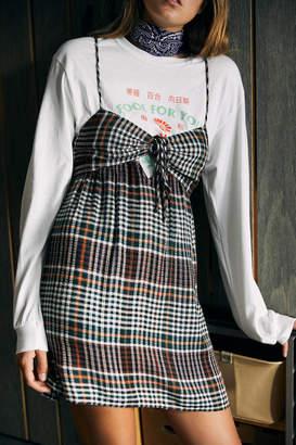 Urban Outfitters Adair Plaid Tie-Back Mini Dress