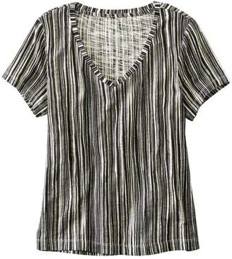 L.L. Bean L.L.Bean Women's Signature Essential Knit V-Neck Tee, Short-Sleeve Print