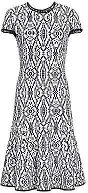 St. John Women's Ikat Jacquard Flare Midi Dress