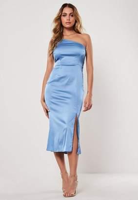 Missguided Blue Satin One Shoulder Midi Slip Dress