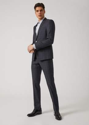 Emporio Armani Overcheck Silk Blend Slim-Fit Suit