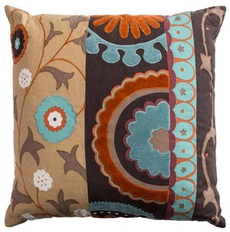 "Rizzy Home Decorative Poly Filled Throw Pillow Medallion With Flourish 20""X20"" Khaki"