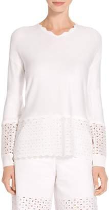 St. John Mini Birdseye Knit V-Neck Sweater