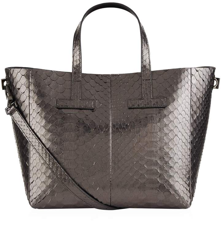 TOM FORD Small Python T Tote Bag, Silver, One Size