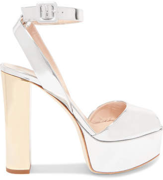 Giuseppe Zanotti Lavinia Mirrored-leather Platform Sandals - Silver