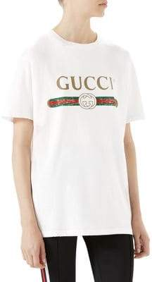 Gucci Distressed Print Cotton Tee