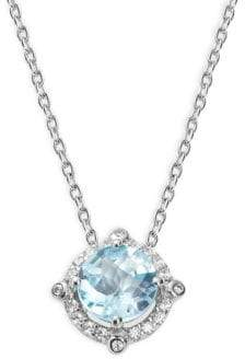 Lafonn Sterling Silver & Blue Topaz Pendant Necklace