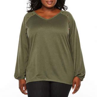 Boutique + + Brushed Knit Studded Sweatshirt- Plus