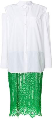 Valentino shirt dress with lace skirt