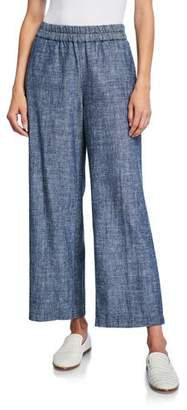 Eileen Fisher Plus Size Denim Chambray Pull-On Ankle Pants