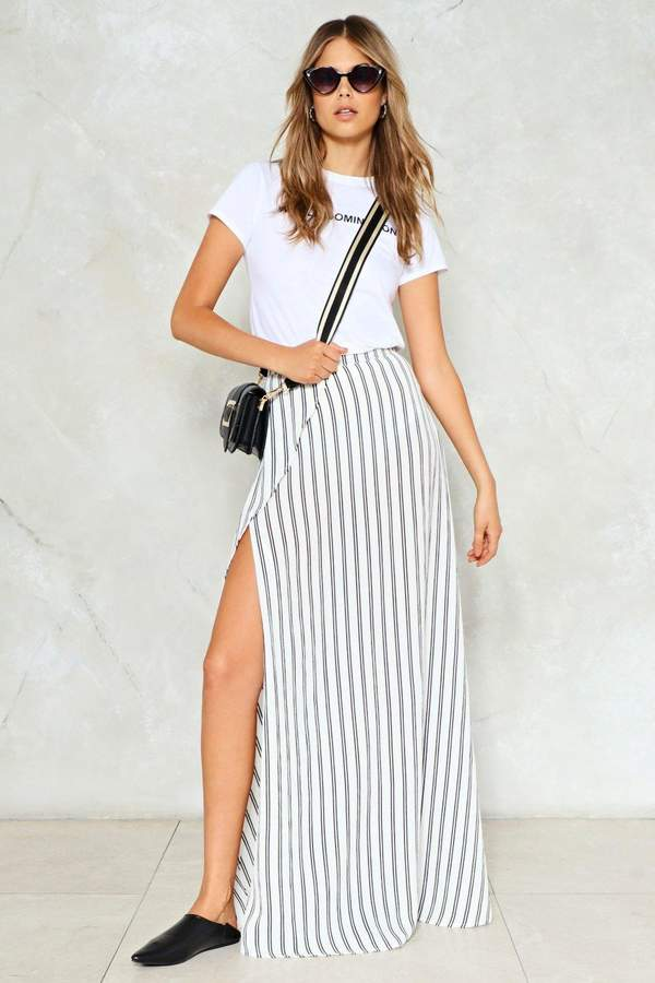 nastygal All the Stripe Reasons Maxi Skirt