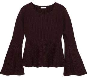 See by Chloe Paneled Ribbed And Cable-Knit Wool Sweater