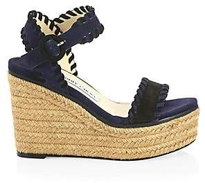 Jimmy Choo Women's Abigail Suede Wedge Espadrille Sandals