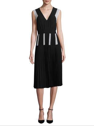 BCBGMAXAZRIA Women's Colorblock Pleated A-line Dress