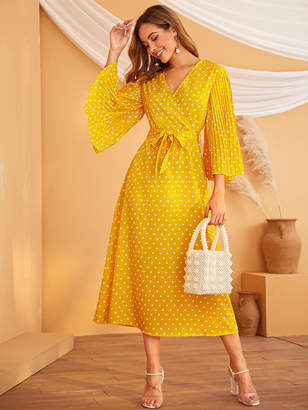 Shein Polka Dot Bell Sleeve Belted Dress