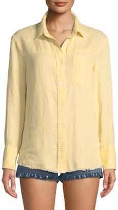 Frame Frayed Linen Button-Down Top