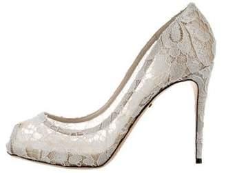 Dolce & Gabbana Lace Peep-Toe Pumps