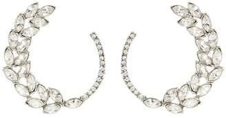 Oscar de la Renta Silver Navette Pave Earrings