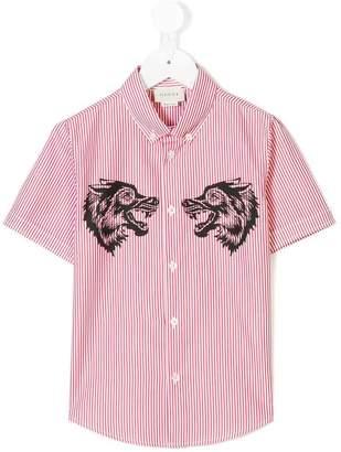 Gucci Kids striped wolf-print shirt