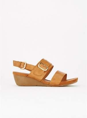Evans Brown Buckle Comfort Wedge Sandals