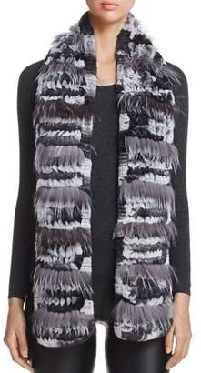 Maximilian Furs Fox Fur-Inset Rabbit Fur Knit Scarf - 100% Exclusive