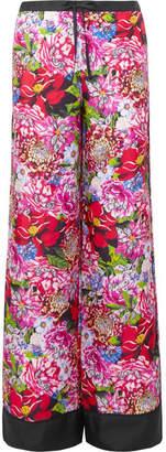 Mary Katrantzou Macaw Floral-print Silk-satin Twill Wide-leg Pants - Fuchsia